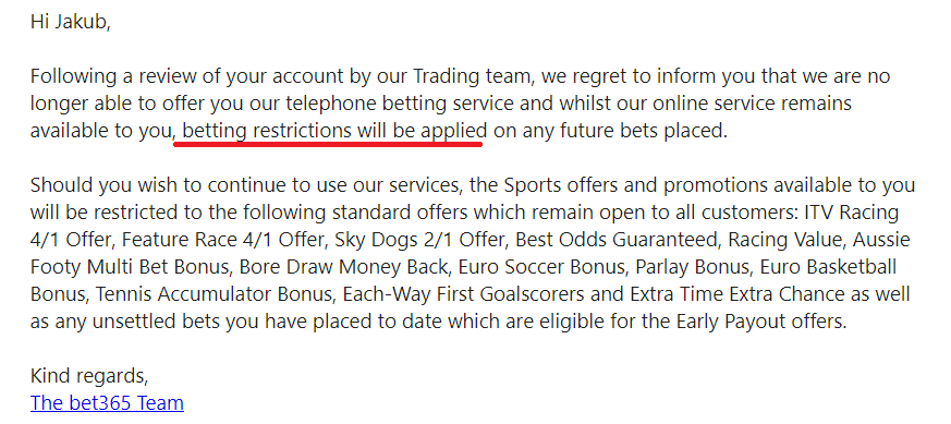 betting restrictions Bet365